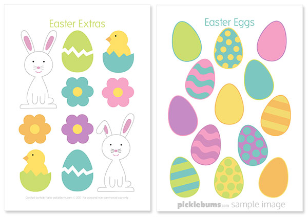 Printable Easter play dough accessories