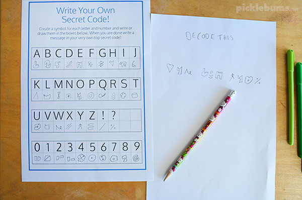 Make your own secret code free printable