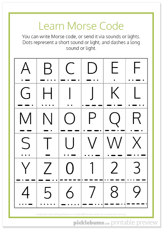 picture regarding Printable Morse Code Chart identified as Interesting Key Codes For Little ones - Absolutely free Printables - Pickles