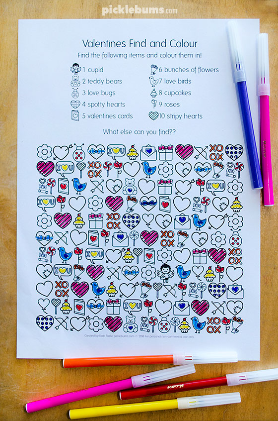Valentines find and colour activity page, free printable