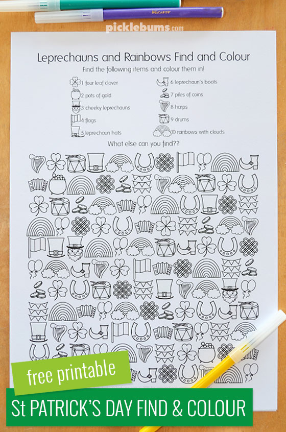 Free Printable St Patrick\'s Day Find and Colour Activity - Picklebums