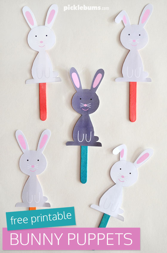 photograph regarding Bunny Printable titled Easter Bunny Puppets - Absolutely free Printable - Pickles