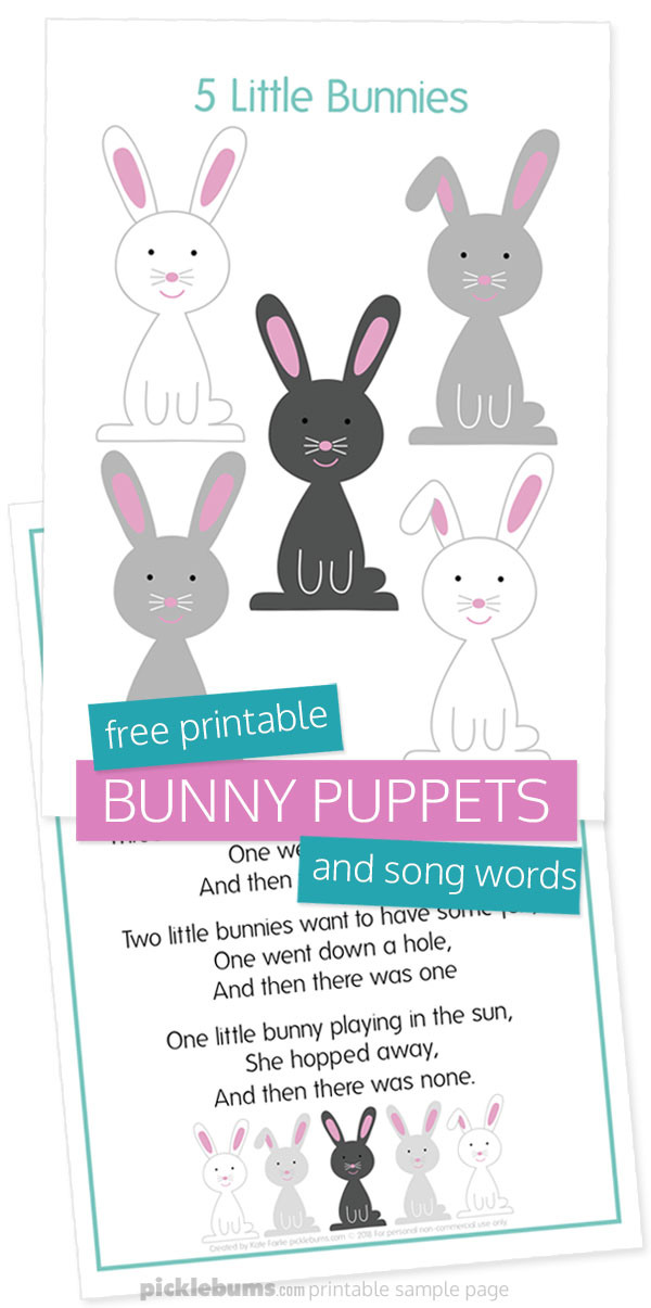 Free printable bunny puppets and song words
