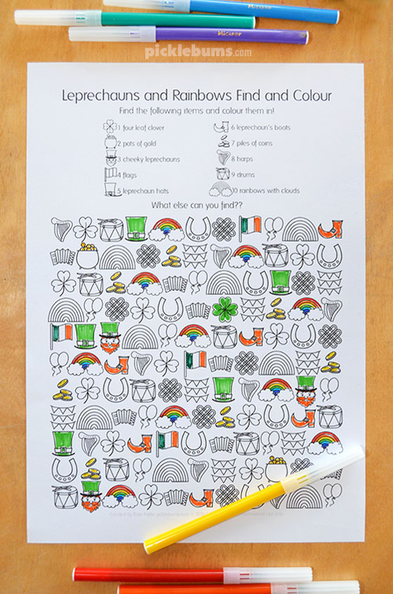 Free printable St Patrick's Day find and colour activity page
