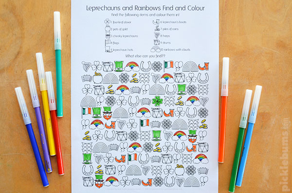 St Patrick's Day find and colour activity free printable for kids