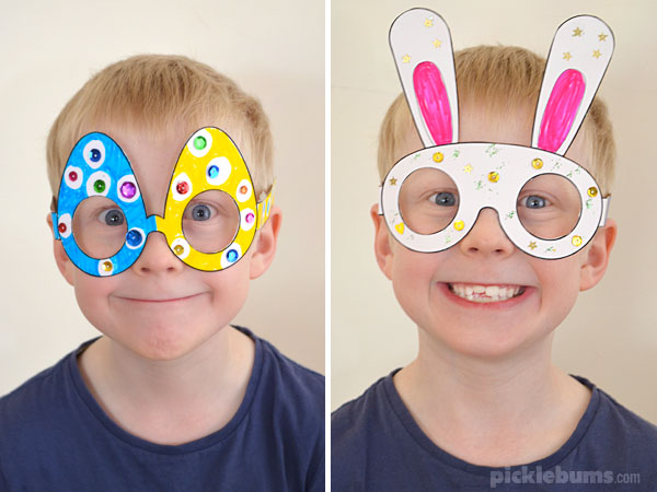 A boy wearing printable easter glasses he made