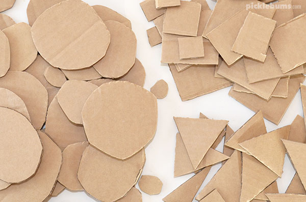 cardboard shapes to make stacked cardboard sculptures