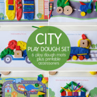 City play set - 6 play dough mats and a page of printable accessories.