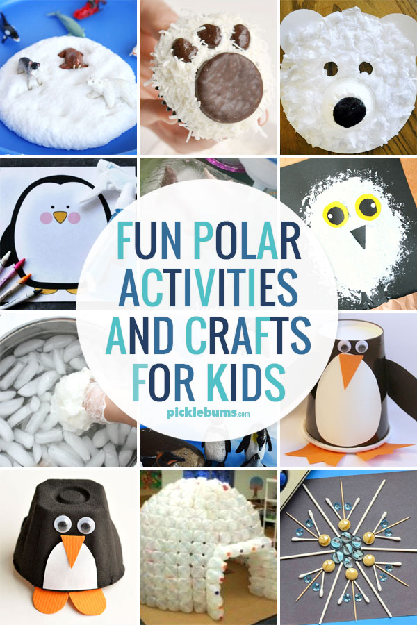 Fin polar activities and crafts for kids - plus an easy to set up imaginative play activity and a great Arctic and Antarctic book list.
