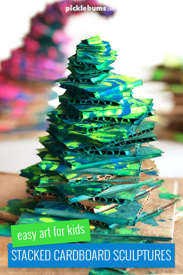 Make cool Stacked Cardboard Sculptures - an epicly cool art activity for kids