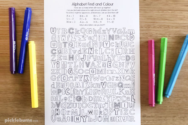 ALphabet find and colour activity - free printable