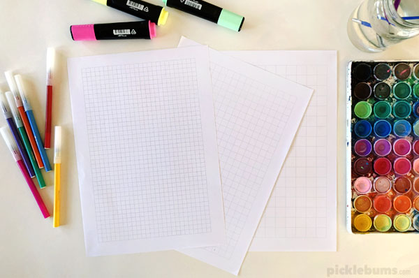 Grid art - an easy, open edned art activity for multiple age groups