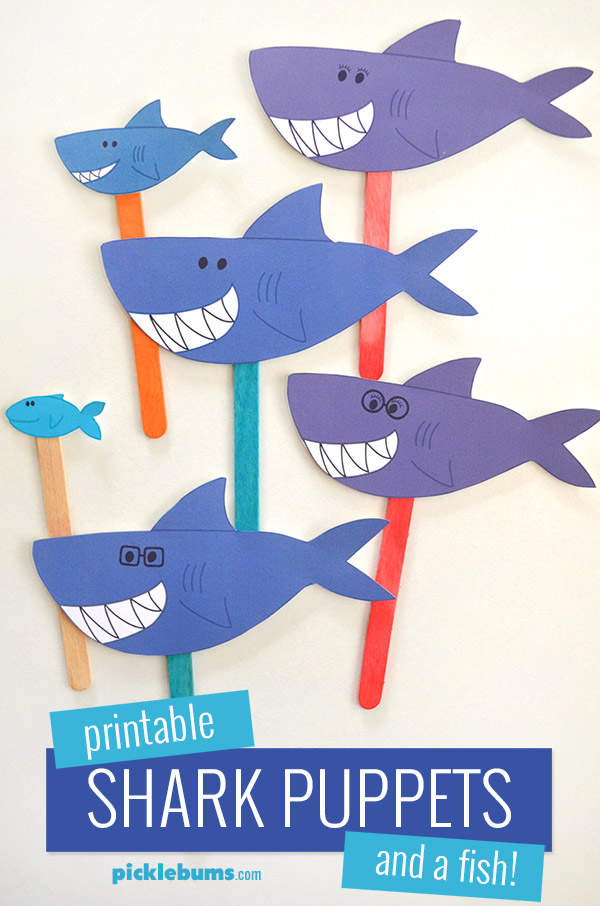 Printable shark puppets - song your own version of the baby shark song!