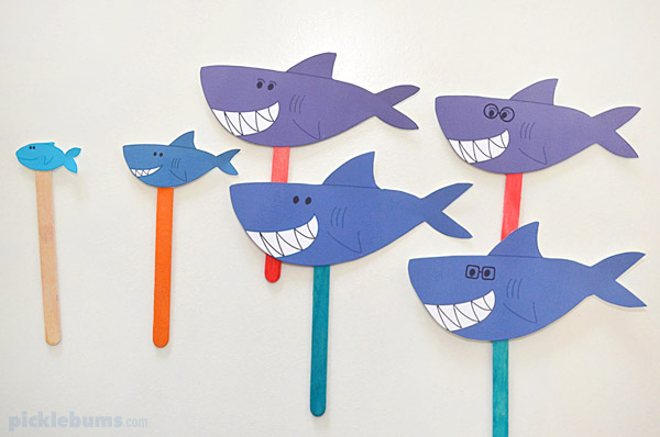 image regarding Shark Printable named Printable Shark Puppets - Pickles