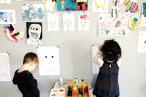 Mixed media portraits with kids - how to start