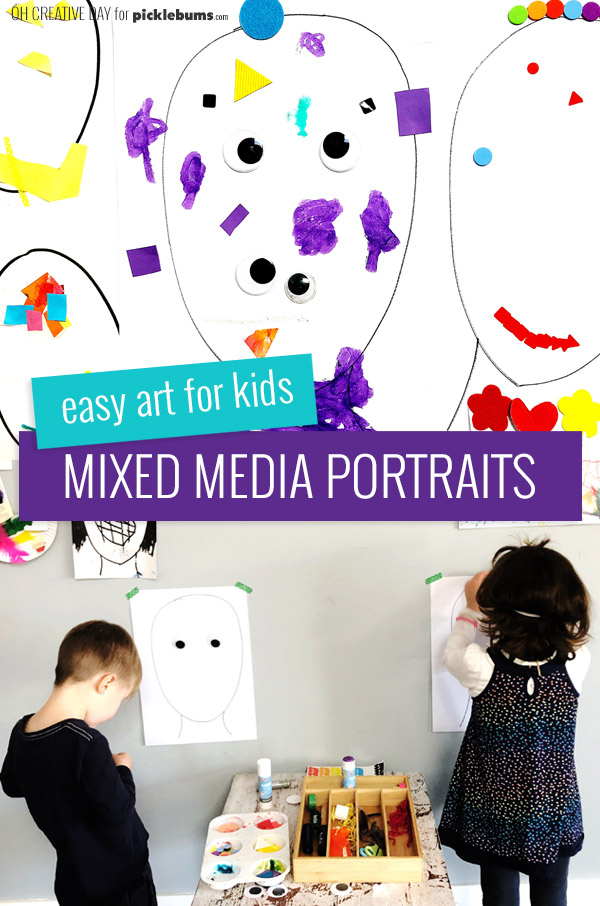 Making Mixed Media Portraits with kids