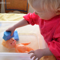 Easy Water Play Activities - washing dolls