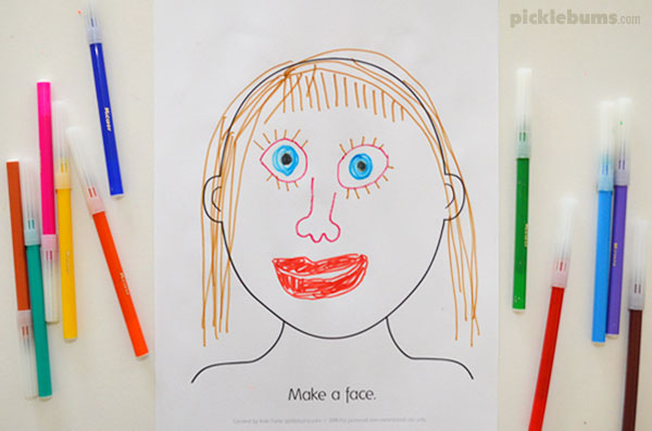 Make a face by drawing