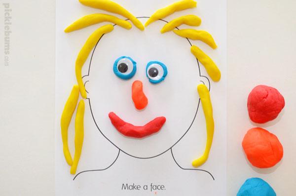 Make a face with play dough