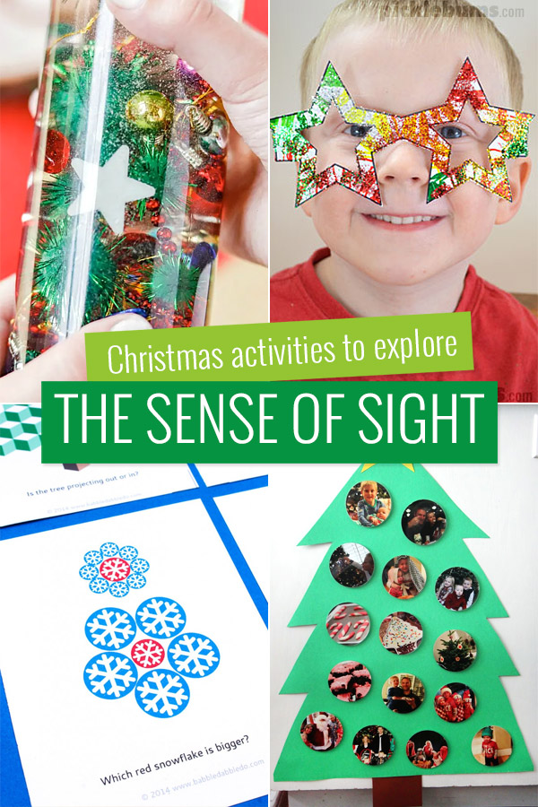 Christmas activities to explore the sense of sight.