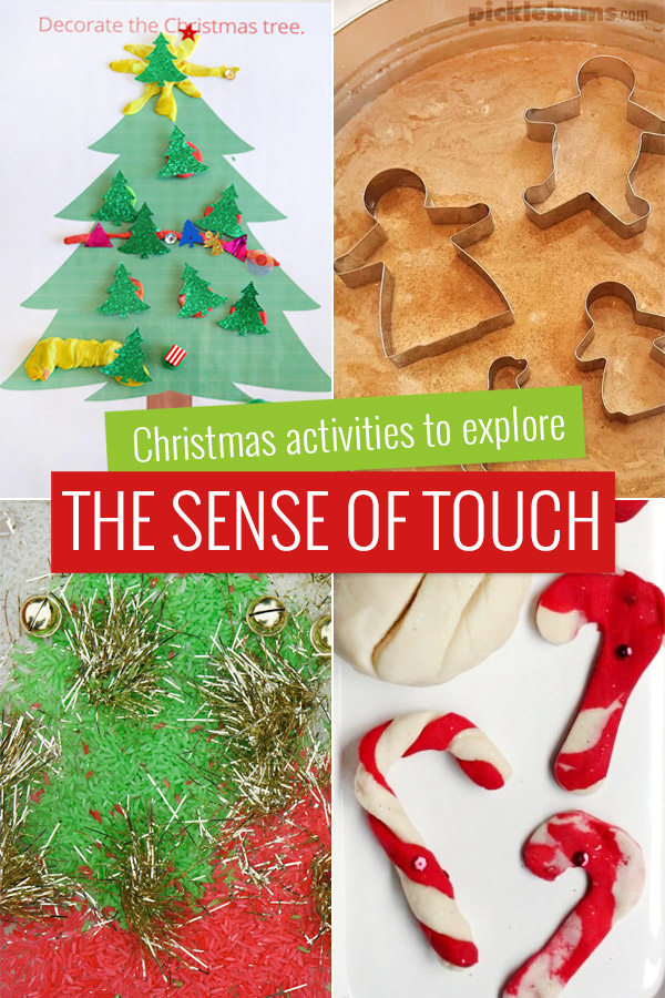 Christmas activities to explore the sense of touch.