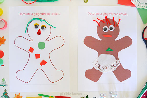 Decorate a gingerbread man collage activity for kids