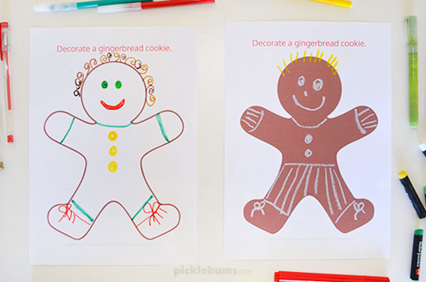 decorate a gingerbread cookie drawing printable