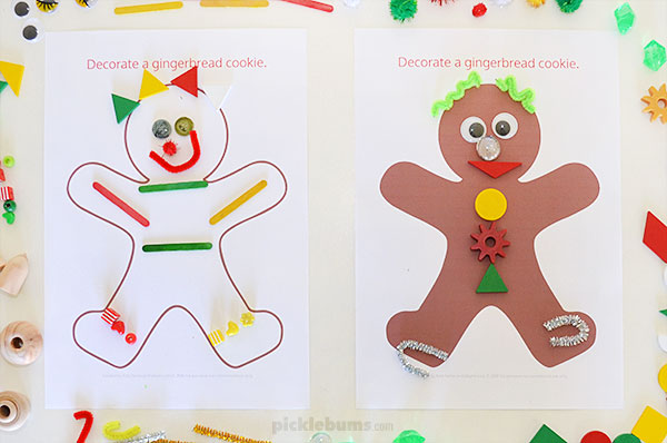 Decorate a gingerbread man with loose parts activity for kids