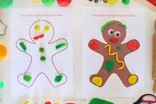 Gingerbread man printable with play dough