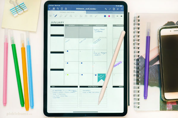 Ipad with goodnotes app and planner