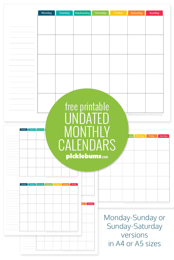 printable undated monthly calendars