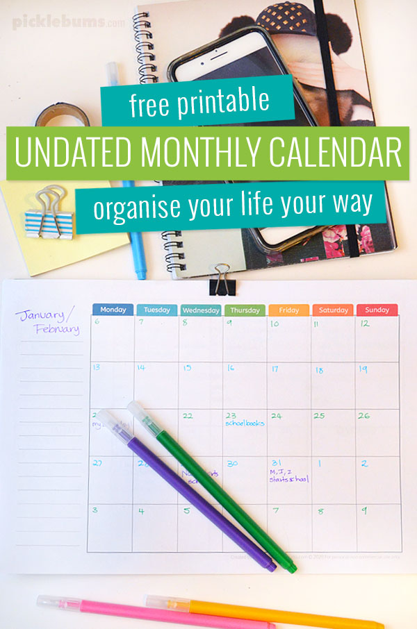Free printable undated monthly calendar