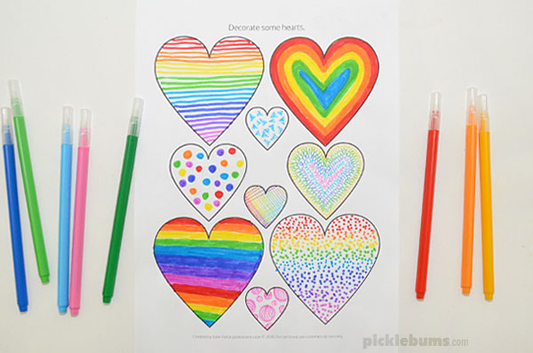 heart colouring page with markers