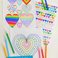 3 heart designs colouring pages