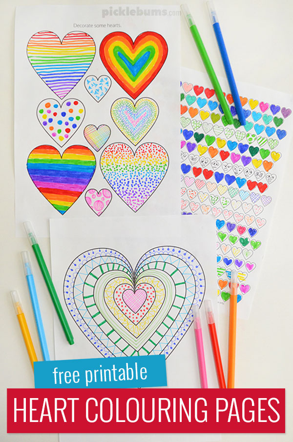 Heart Colouring Pages - Free Printable - Picklebums