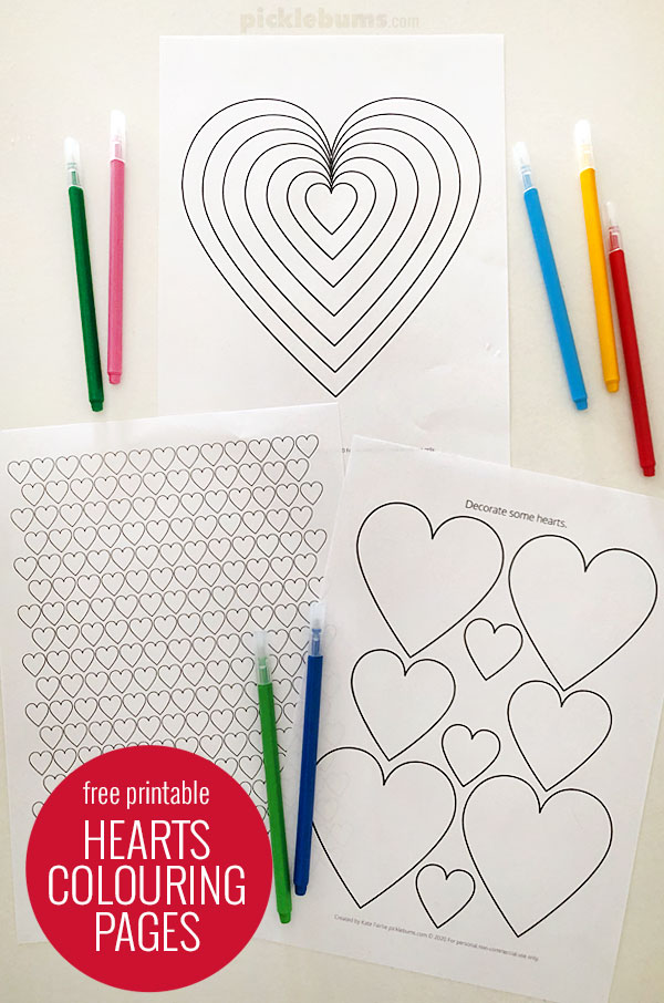 free printable heart colouring pages