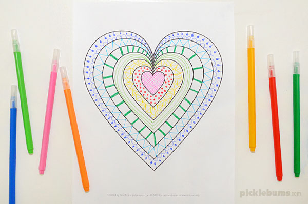 Mandala heart colouring page
