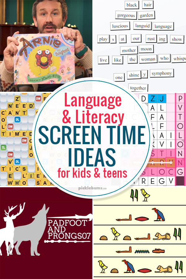 Language and literacy screen ideas for kids