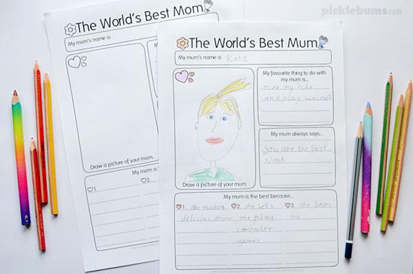 world's best Mum writing activity