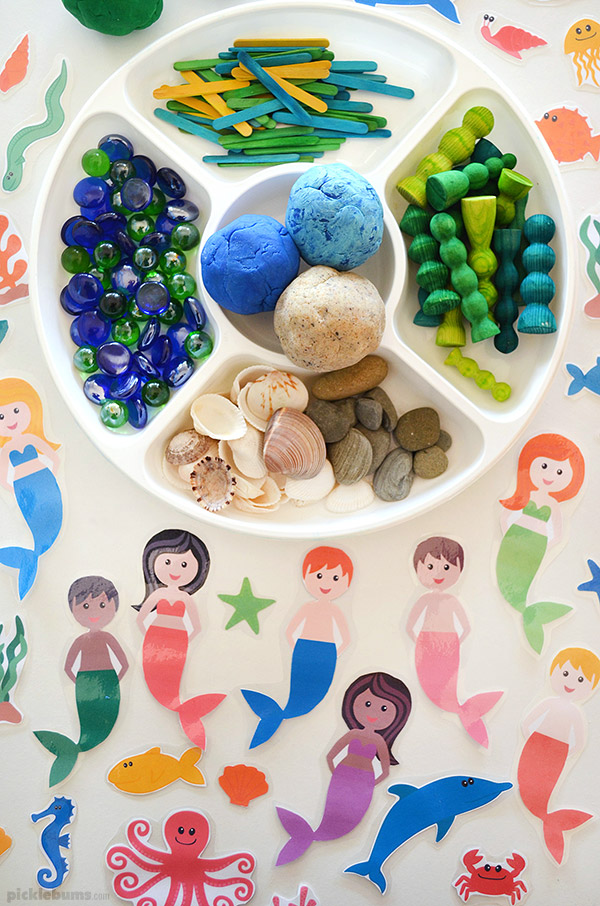 ocean playdough and printable accessories