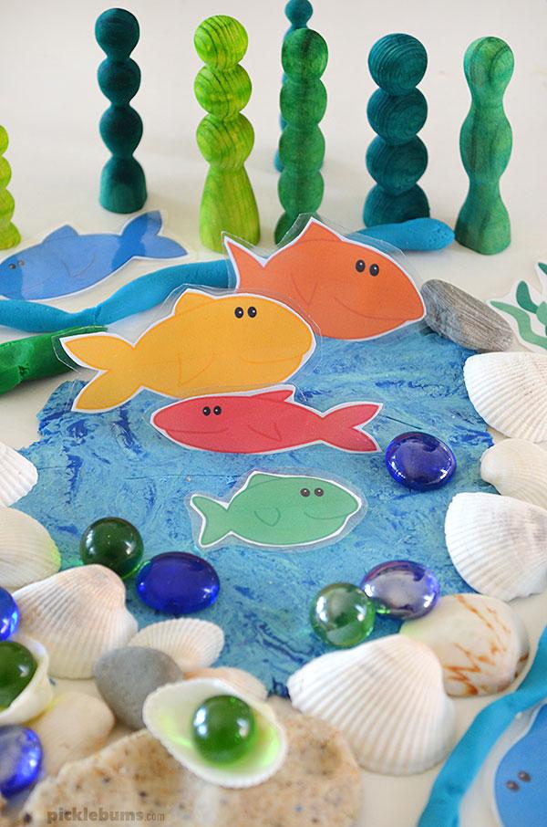 sea play dough printable fish shells and gems