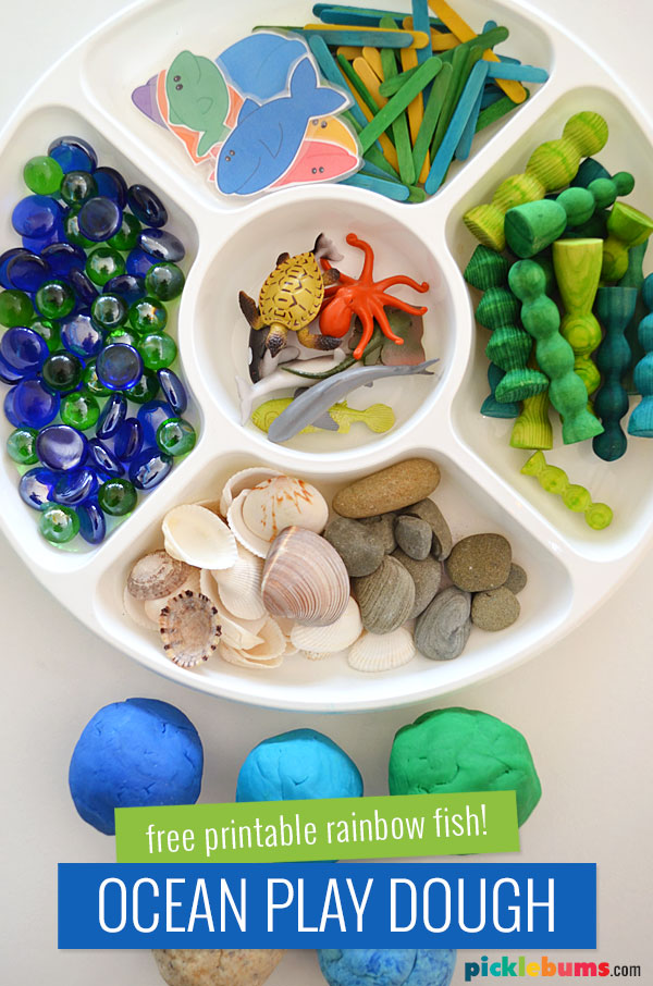 play dough and accessories for ocean themed play dough play