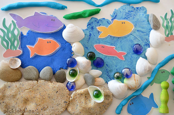 ocean playdough with fish, shells and more