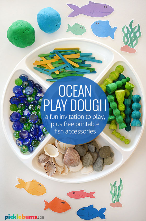 ocean play dough set up with printable fish