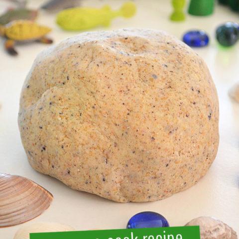 Easy No-cook Sand Playdough Recipe.