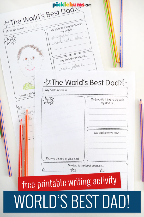 World's best dad printable writing activity pages