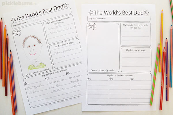 worlds best Dad fathers day writing pages for kids
