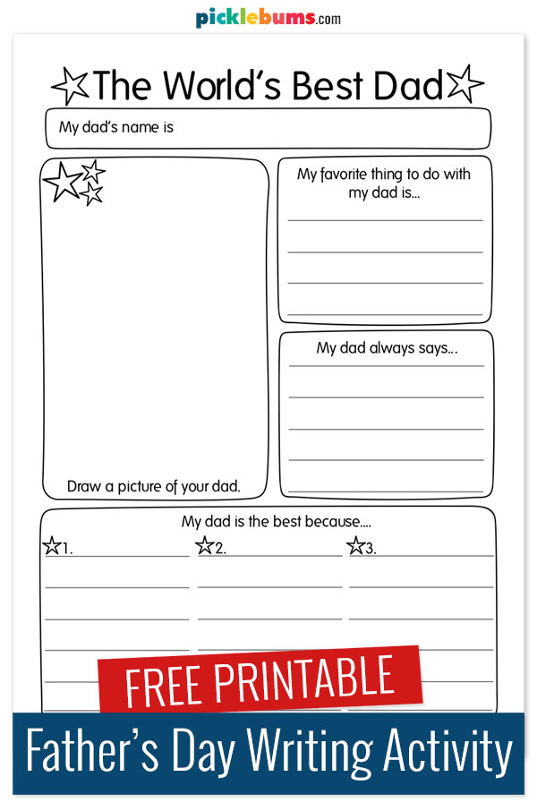 printable fathers day writing page