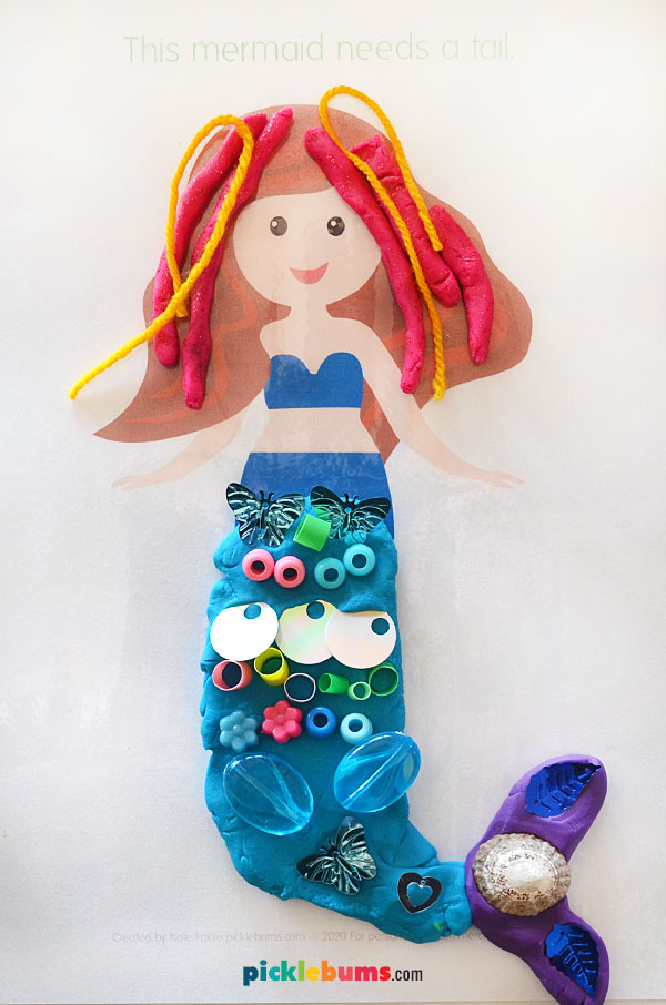 mermaid play dough mat