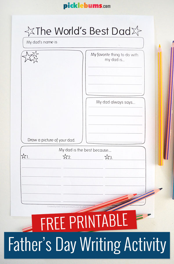 World's best dad free printable page